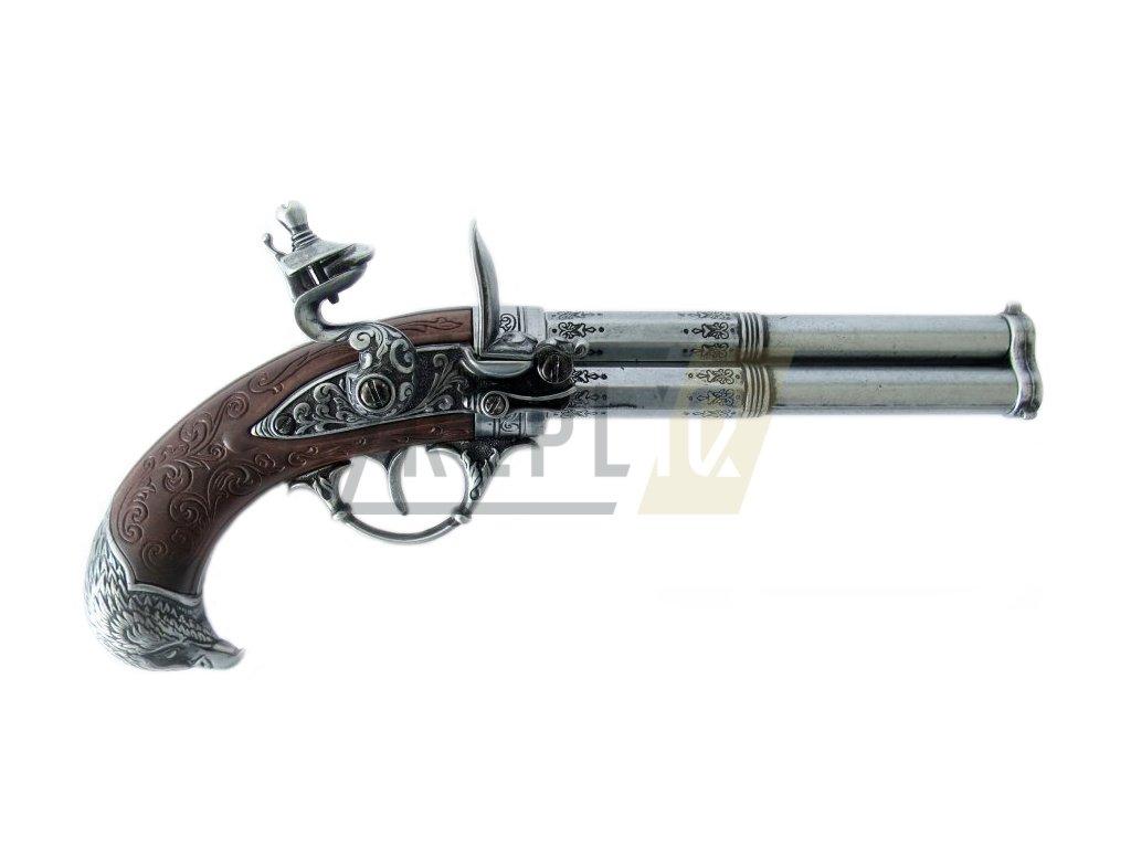 Pistole tříhlavňová - Francie 18. století