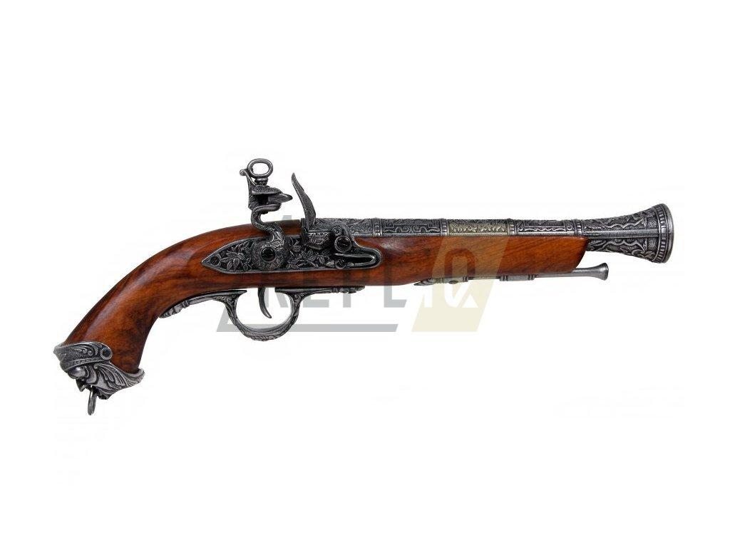 Pistole pirátská - Itálie 18.stol. (šedá)
