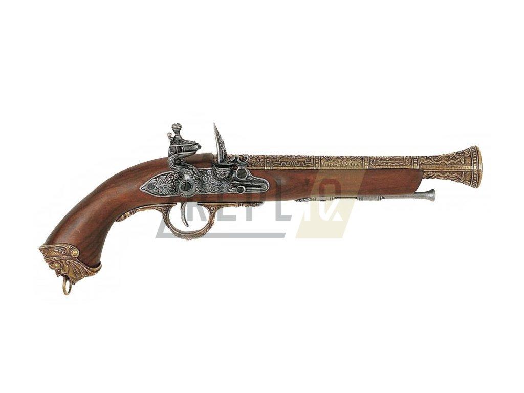 Pistole pirátská - Itálie 18.stol. (mosaz)