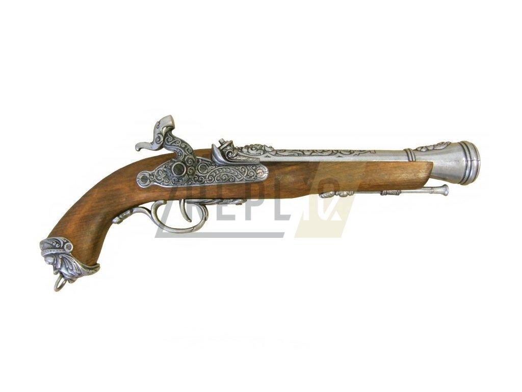 Pistole křesadlová Italská - 18.stol. (šedá)