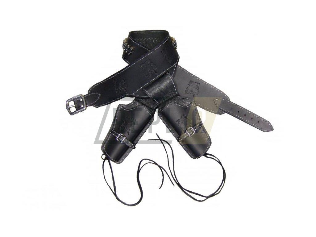 Kožený pásek pro dvě zbraně s dvacetičtyřmi náboji