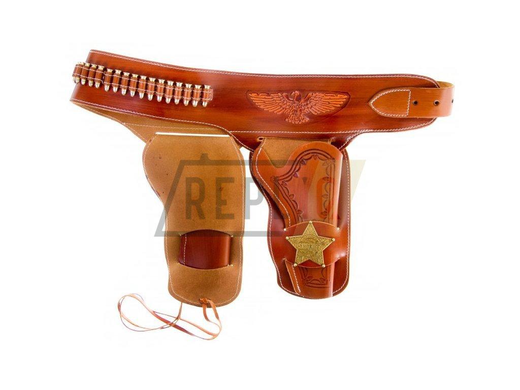 Kožené westernové pouzdro na pistoli s odznaky a 24 náboji