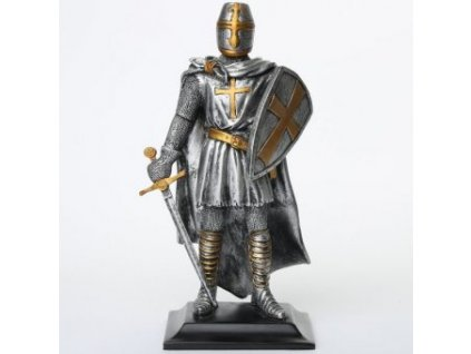 Cínový rytíř s mečem a štítem