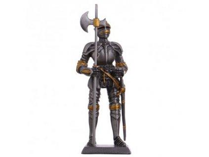 Cínový vojáček středověký rytíř s halapartnou a mečem 105 mm
