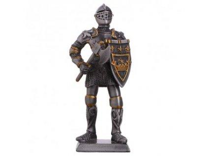 Cínový vojáček středověký rytíř se sekerou a erbovním štítem 105mm