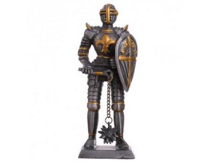 Cínový vojáček středověký rytíř s řemdihem a francouzskou lilií na hrudi 105mm