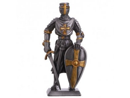 Cínový templářský rytíř s mečem a štítem 110mm
