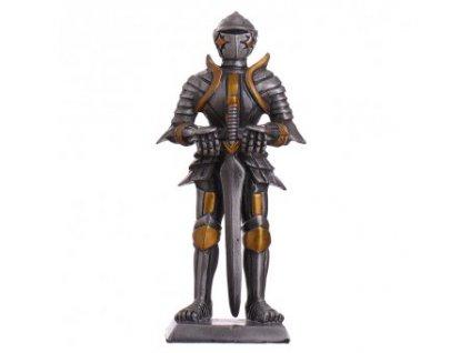 Cínový vojáček středověký rytíř s obouručním mečem a lamačem čepelí 105mm