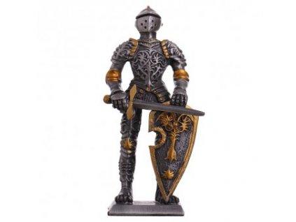 Cínový vojáček středověký rytíř v turnajové zbroji s florálním zdobením 105mm