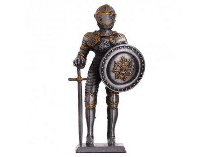 Cínový vojáček středověký rytíř v celoplátové zbroji s kruhovým štítem a mečem 105mm