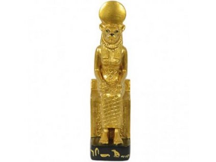 Soška Sachmet na trůnu ve zlatě oděná