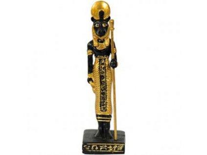 Soška Sachmet stojící ve zlatě oděná