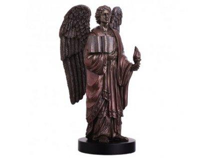 Soška anděla archanděla Uriela se svatým písmem a plamenem naděje 20cm