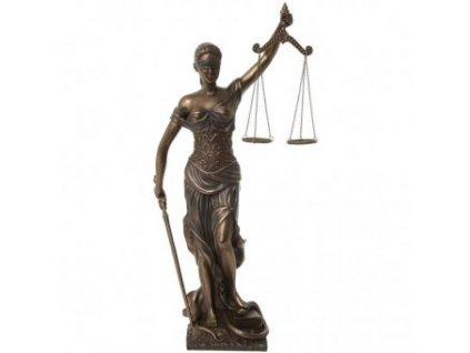 Bohyně spravedlnosti, socha Justice z imitace bronzu