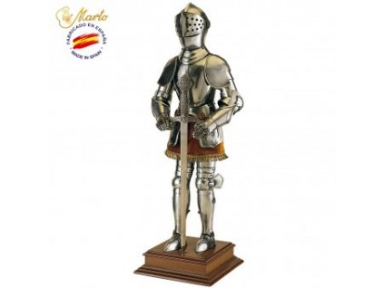 Zlatý rytíř v brnění s mečem, 61cm