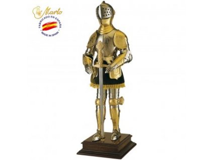 Zlatý rytíř ve zbroji s mečem, 61cm soška