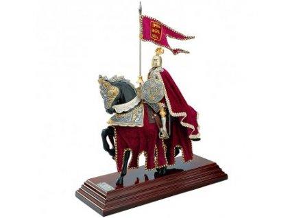 Rytíř na koni červený, soška