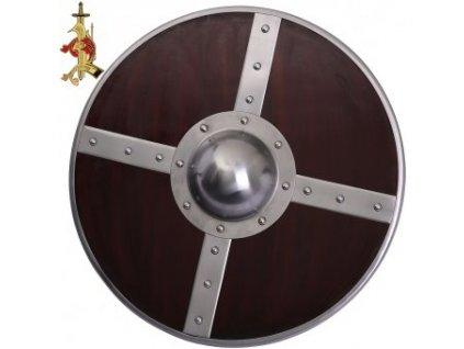 Raně středověký kulatý štít vyztužený