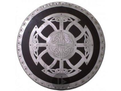 Vikinský kruhový štít s uzlovým emblémem