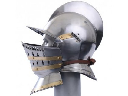 Útočná helma Burgonet s podbradím