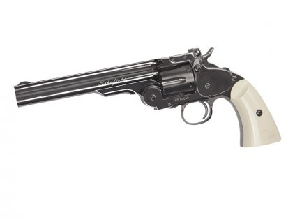"""Revolver Schofield 6"""" 4,5mm, Plated Steel GY a Ivory Grip"""