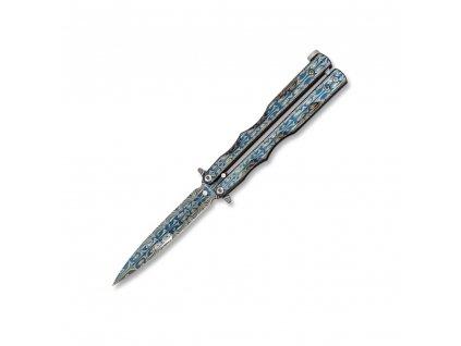 Nůž motýlek RAIN BLUE s ornamenty