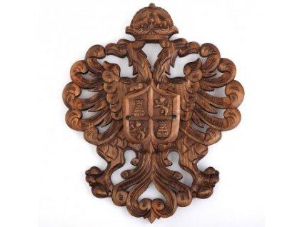 Ručně vyřezávaný erb s hradní věží a lvem
