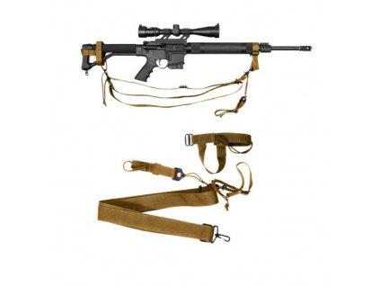 Popruh zbraňový MILITARY tříbodový COYOTE BROWN