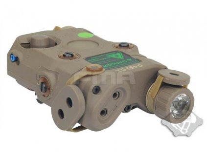 AN/PEQ15 Upgrade Version - bílá LED svítilna plus zelený laser s IR krytkami plus IR přísvit, pískový