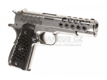 WE M1911 HEX CUT Gen.2, blowback, celokov - stříbrná