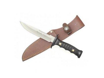 Nůž MUELA černý ozub 7121/12cm kožené pouzdro HNĚDÉ