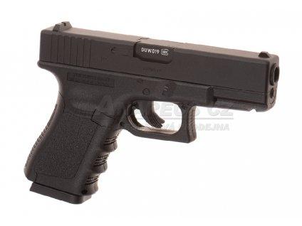 Glock 19 CO2 - kovový pevný závěr - černý (Glock Licensed)