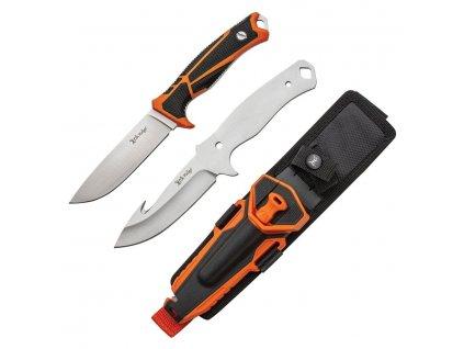 Nože s pevnou čepelí HUNTING COMBO 2 kusy ORANŽOVÉ