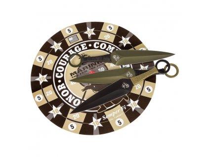Nože vrhací USMC sada 6 kusů s terčem
