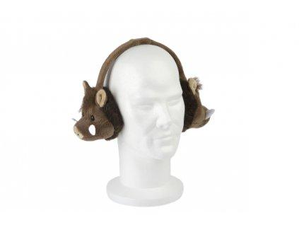 Plyšové klapky/sluchátka na uši s divočákem
