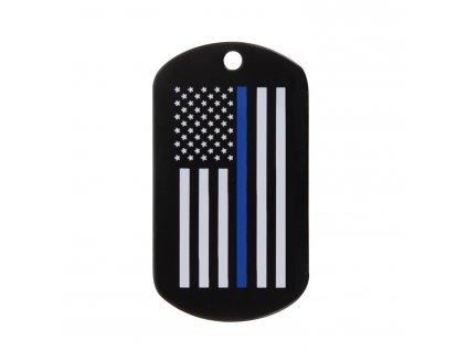 Známka identifikační DOG TAG vlajka US s modrou linkou