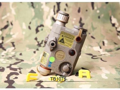 AN/PEQ15 LA5-C - bílá LED svítilna plus zelený laser s IR krytkami plus IR přísvit, pískový