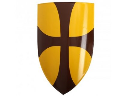 Štít s templářským křížem na žlutém pozadí 70x46cm