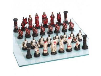 Šachové figurky Křižáci se skleněnou šachovnicí