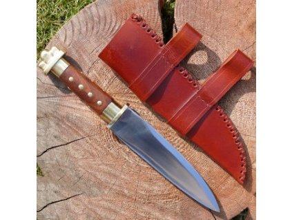 Krátký Vikingský sax s mosazným jílcem a koženou pochvou