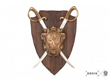 denix Panoply with coat of arms and 2 sabres