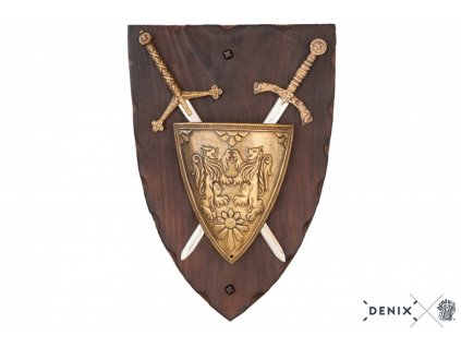 denix Panoply with coat of arms and 2 swords