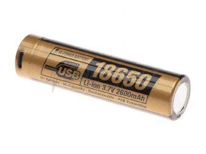 Dobíjecí baterie 3,7V 18650 2600 mAh Micro-USB