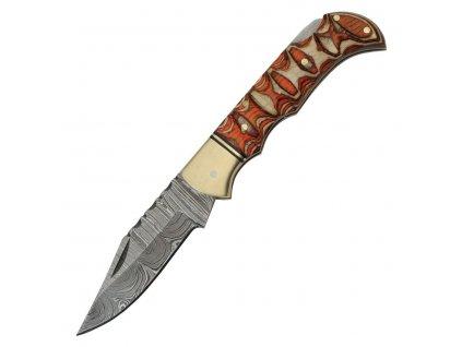 Nůž zavírací DAMASCUS TWISTED dřevěná rukojeť