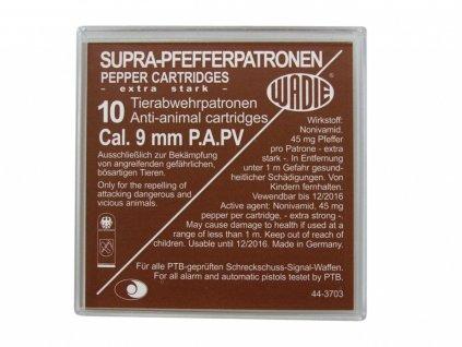 Plynové náboje PV-S 9mm pistole 10ks Supra Pepper