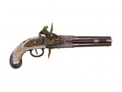 Pistole dvouhlavňová s překlopovacím zámkem - Anglie 1750