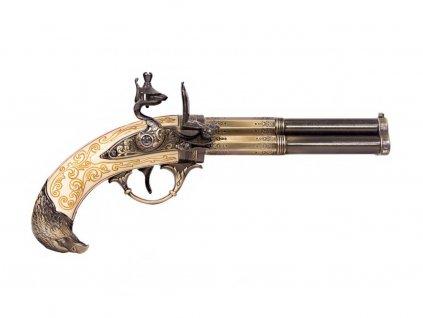 Pistole tříhlavňová - Francie 18. století (světlá)