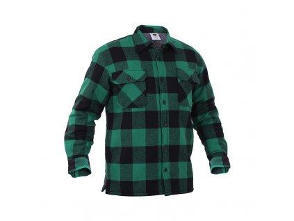 Košile dřevorubecká zateplená kostkovaná ZELENÁ
