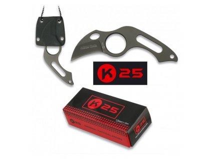 Nůž K25 31849 s řetízkem na krk ČERNÝ