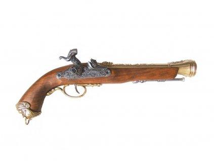 Pistole křesadlová Italská - 18.stol. (mosaz)